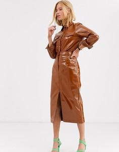 Комбинируемая юбка из винила ASOS WHITE-Коричневый