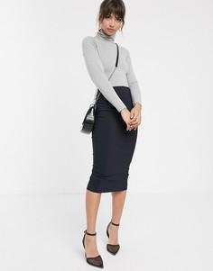 Длинная юбка-карандаш ASOS DESIGN-Темно-синий