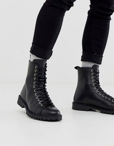 Кожаные походные ботинки черного цвета на шнуровке Selected Homme-Черный
