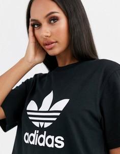 Черная футболка с логотипом-трилистником adidas Originals-Черный