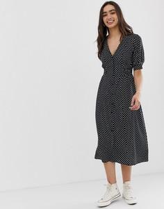 Чайное платье миди в горошек с присборенной талией ASOS DESIGN-Мульти