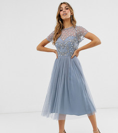 Пыльно-синее платье миди для выпускного с цветочной отделкой Maya-Синий