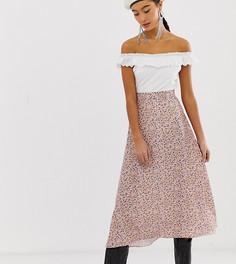 Юбка миди с мелким цветочным принтом New Look-Розовый