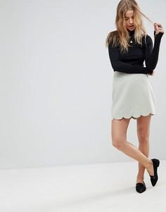 Мини юбка‑трапеция с фигурным краем ASOS Tailored-Зеленый