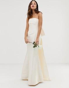Свадебное платье с лифом-бандо и бантом ASOS EDITION-Белый