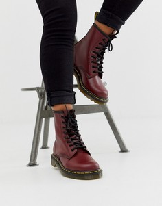 Кожаные ботинки вишневого цвета с 8 парами люверсов Dr Martens 1460-Красный