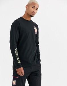 Черный лонгслив с принтом на рукаве adidas Originals adiplore