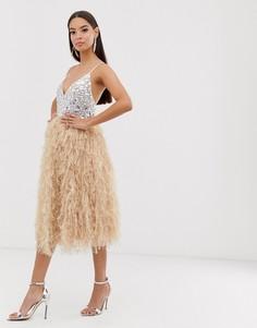 Платье миди с отделкой камнями и перьями ASOS DESIGN-Розовый