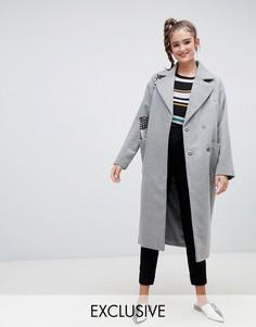 Серое длинное пальто из переработанной шерсти Monki-Серый