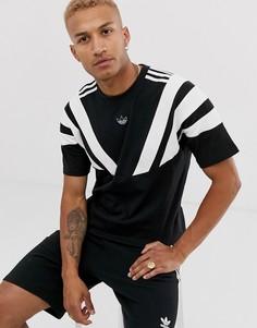 Черная футболка с принтом логотипа-трилистника и полосами на плечах adidas Originals-Черный