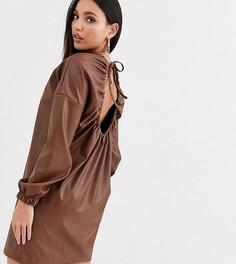 Платье из искусственной кожи с открытой спиной ASOS DESIGN Tall-Бежевый