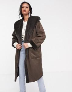 Удлиненное пальто с искусственной овечьей шерстью и капюшоном Religion-Коричневый