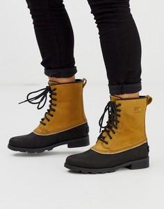 Коричнево-черные кожаные ботинки на шнуровке Sorel emelie-Коричневый