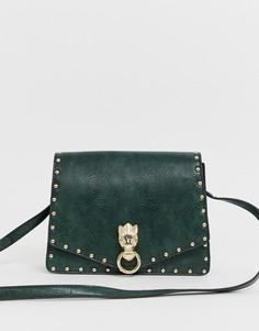 Портфель с металлической фурнитурой и заклепками ASOS DESIGN-Зеленый