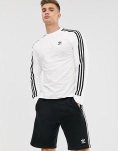 Белый лонгслив с 3 полосками adidas Originals