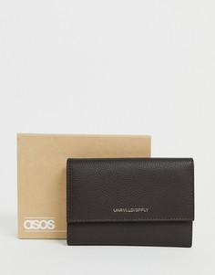 Коричневый кожаный кошелек и кредитница 2-в-1 ASOS DESIGN-Черный