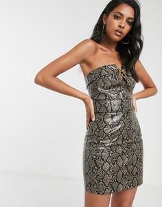 Платье мини с поясом и шнуровкой ASOS DESIGN-Мульти