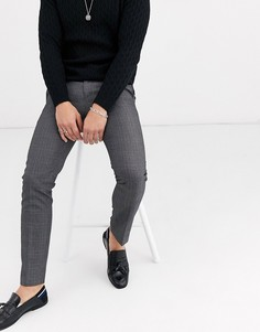 Серые строгие брюки скинни в клетку Burton Menswear-Серый