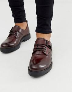 Красные кожаные туфли на шнуровке Depp London-Черный