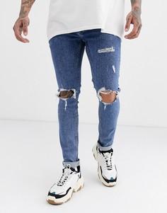 Синие джинсы скинни с рваной отделкой Topman-Синий