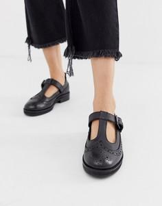 Черные кожаные туфли на плоской подошве ASOS DESIGN-Черный