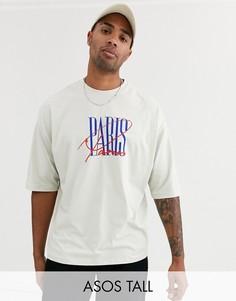 Oversize-футболка с принтом на груди ASOS DESIGN Tall-Серый