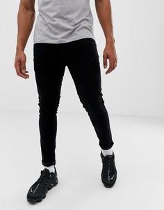 Черные вельветовые брюки зауженного кроя River Island-Черный