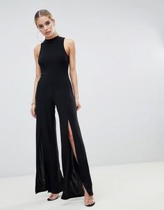 Черный комбинезон с высоким воротом и разрезами до бедра Fashionkilla