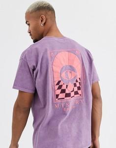 Фиолетовая футболка с принтом на спине Topman-Белый