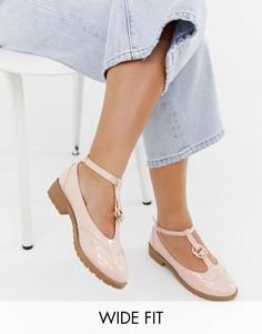Туфли на плоской подошве для широкой стопы с двойными кольцами ASOS DESIGN Maxy-Бежевый
