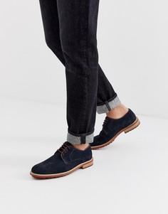 Темно-синие замшевые туфли на шнуровке Siliver Street-Темно-синий