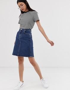 Эластичная джинсовая юбка-трапеция Selected Femme-Синий