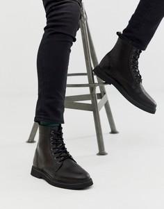 Черные кожаные ботинки на шнуровке с толстой подошвой ASOS DESIGN-Черный