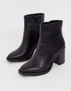 Черные кожаные ботинки на среднем каблуке Steve Madden Tenley-Черный
