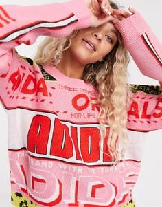 Розово-красный джемпер с принтом adidas Originals