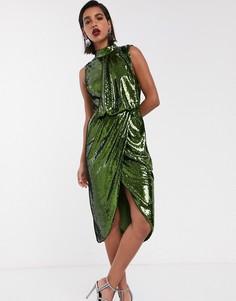 Платье-футляр миди с пайетками и драпировкой ASOS DESIGN-Зеленый