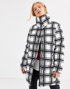 Стеганое пальто в клетку In Wear Zakeya-Белый