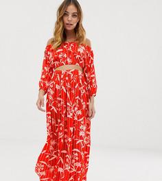 Пляжная шифоновая юбка макси с цветочным принтом в полоску ASOS DESIGN Petite-Мульти