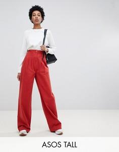 Брюки с широкими штанинами и корсетным поясом ASOS DESIGN Tall-Красный