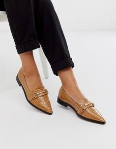 Светло-коричневые туфли на плоской подошве с пряжками ASOS DESIGN Master-Светло-коричневый
