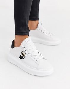 Белые кожаные кроссовки на платформе с черной отделкой Karl Lagerfeld-Белый
