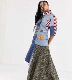Джинсовое платье макси в тонкую полоску с асимметричной камуфляжной вставкой DB Berdan-Синий