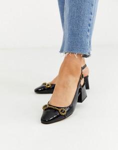 Черные лоферы на среднем каблуке с эффектом крокодиловой кожи ASOS DESIGN Shadow-Черный