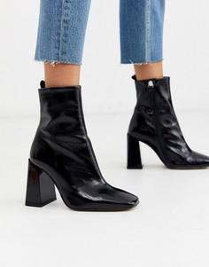 Кожаные ботинки с квадратным носком на каблуке Office-Черный