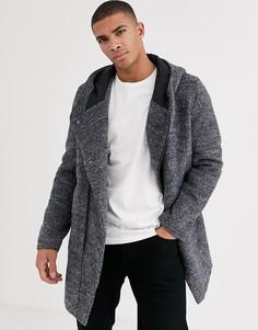Серое асимметричное шерстяное пальто с капюшоном Esprit-Серый
