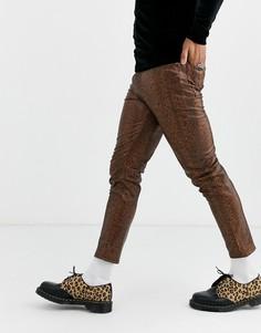 Коричневые джинсы скинни из искусственной кожи с покрытием ASOS DESIGN-Коричневый