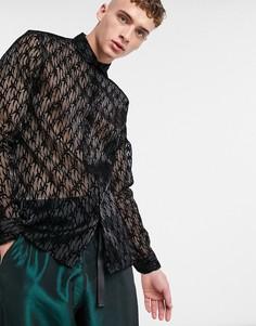 Черная рубашка с длинными рукавами и принтом Jaded London-Черный