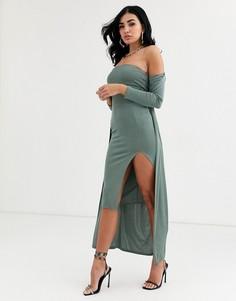 Комплект из платья-бандо миди и накидки ASOS DESIGN-Мульти