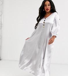 Свободное блестящее платье макси Native Youth Plus-Серебряный