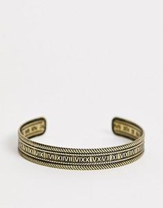 Браслет цвета состаренного золота с римскими цифрами ASOS DESIGN-Золотой